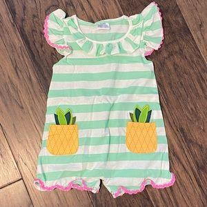 🌸NWOT🌸 Girl Green Stripe Pineapple Ruffle Romper